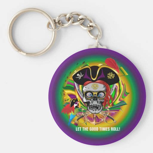 Mardi-Gras Basic Round Button Keychain