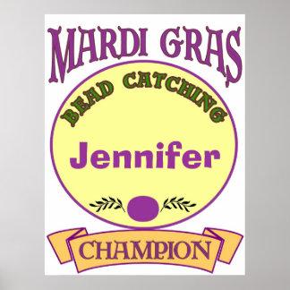 Mardi Gras Bead Champ, Personalize Poster