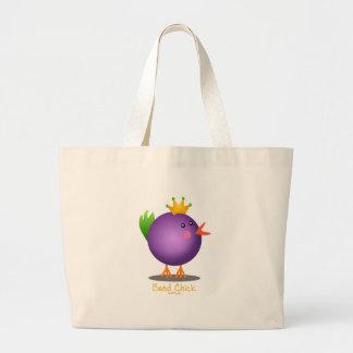 Mardi Gras Bead Chick (purple) Large Tote Bag