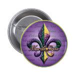 Mardi Gras bead Fleur de lis 2 2 Inch Round Button