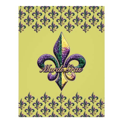 """Mardi Gras bead Fleur de lis 2 8.5"""" X 11"""" Flyer"""