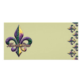 Mardi Gras bead Fleur de lis 2 Card