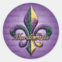Mardi Gras bead Fleur de lis 2 Classic Round Sticker