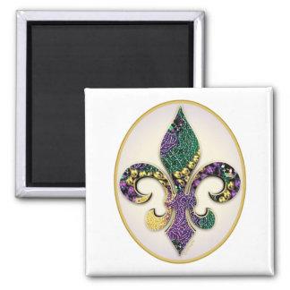 Mardi Gras Bead Fleur de lis 2 Inch Square Magnet