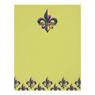 Mardi Gras bead Fleur de lis 2 Letterhead