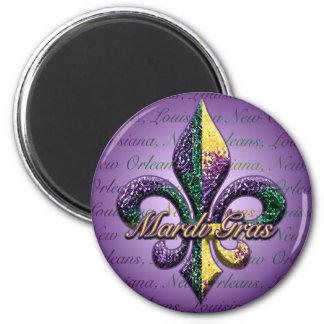 Mardi Gras bead Fleur de lis 2 Magnet