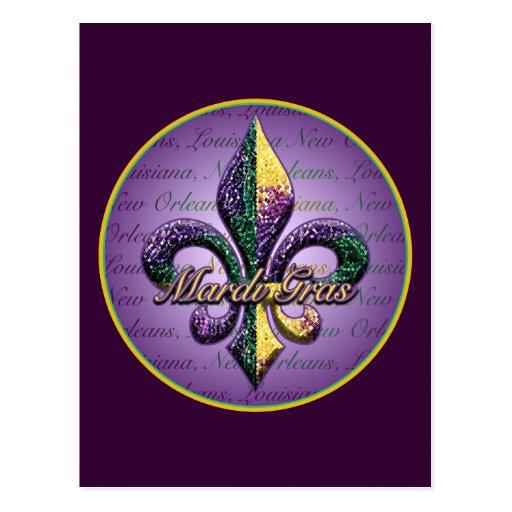 Mardi Gras bead Fleur de lis 2 Postcards