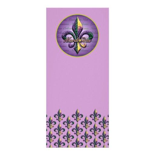 Mardi Gras bead Fleur de lis 2 Rack Card Design