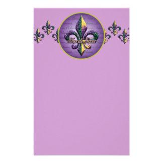 Mardi Gras bead Fleur de lis 2 Stationery Design