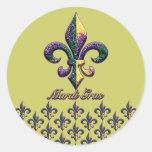 Mardi Gras bead Fleur de lis 2 Stickers