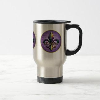 Mardi Gras bead Fleur de lis 2 Travel Mug