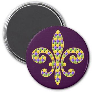 Mardi Gras bead Fleur de lis 3 Inch Round Magnet