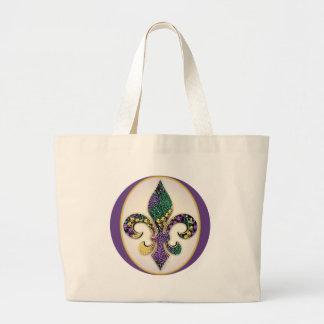 Mardi Gras Bead Fleur de lis Canvas Bags