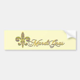 Mardi Gras bead Fleur de lis Car Bumper Sticker