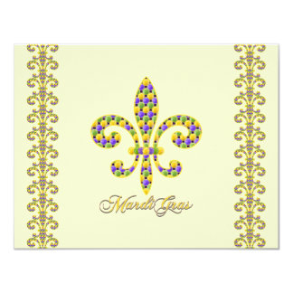Mardi Gras bead Fleur de lis Card