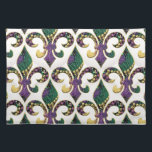 "Mardi Gras Bead Fleur de lis Cloth Placemat<br><div class=""desc"">ARTegrity&#39;s original Fleur de lis filled with Mardi Gras beads set in an oval on apparel,  accessories,  home decor and keepsake gifts for the Krewe or for your Mardi Gras festivities,  parties and parades.  Happy Mardi Gras ya&#39;ll</div>"