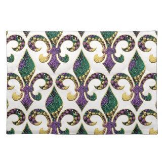 Mardi Gras Bead Fleur de lis Cloth Placemat