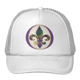 Mardi Gras Bead Fleur de lis Mesh Hat