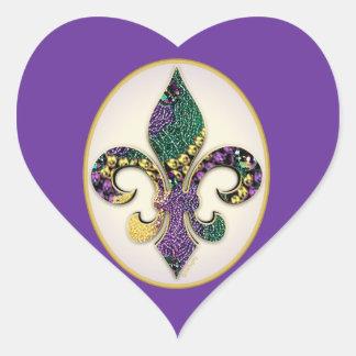 Mardi Gras Bead Fleur de lis Heart Sticker