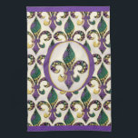 "Mardi Gras Bead Fleur de lis Kitchen Towel<br><div class=""desc"">ARTegrity&#39;s original Fleur de lis filled with Mardi Gras beads set in an oval on apparel,  accessories,  home decor and keepsake gifts for the Krewe or for your Mardi Gras festivities,  parties and parades.  Happy Mardi Gras ya&#39;ll</div>"