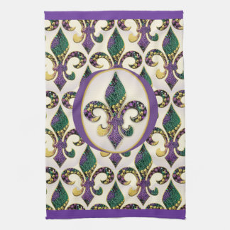 Mardi Gras Bead Fleur de lis Kitchen Towel