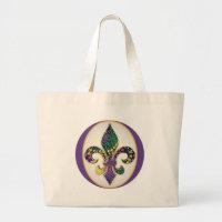 Mardi Gras Bead Fleur de lis Large Tote Bag