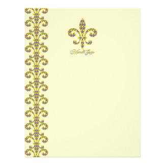 Mardi Gras bead Fleur de lis Letterhead