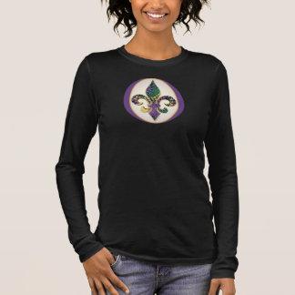 Mardi Gras Bead Fleur de lis Long Sleeve T-Shirt