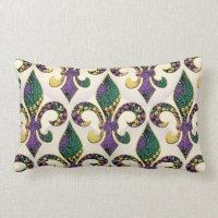 Mardi Gras Bead Fleur de lis Lumbar Pillow