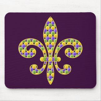 Mardi Gras bead Fleur de lis Mouse Pad