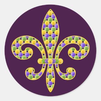 Mardi Gras bead Fleur de lis Classic Round Sticker