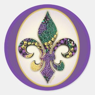 Mardi Gras Bead Fleur de lis Sticker