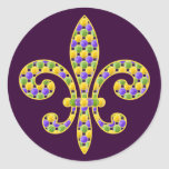 Mardi Gras bead Fleur de lis Stickers