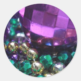 Mardi Gras Bead Throws Purple Custom Round Sticker