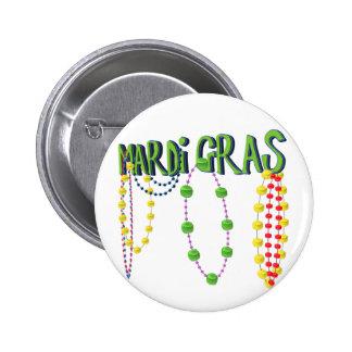 Mardi Gras Beads 2 Inch Round Button