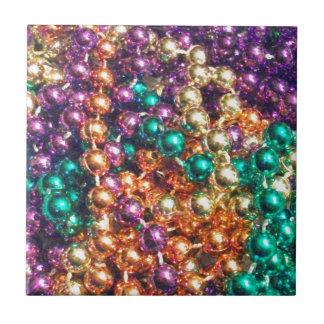 Mardi Gras Beads Ceramic Tile