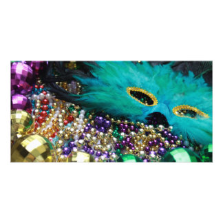 Mardi Gras Beads & Green Feather Mask Card