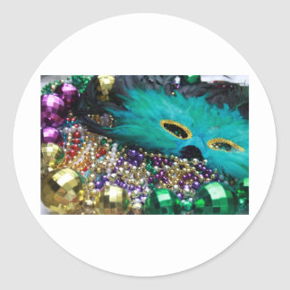 Mardi Gras Beads & Green Feather Mask Classic Round Sticker