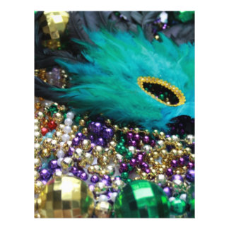 Mardi Gras Beads & Green Feather Mask Flyer Design