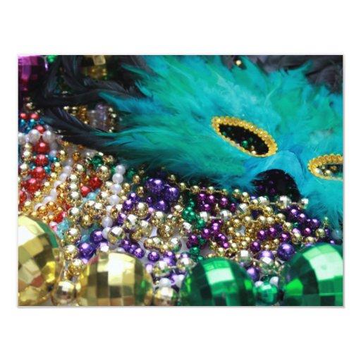 "Mardi Gras Beads & Green Feather Mask Invitation 4.25"" X 5.5"" Invitation Card"