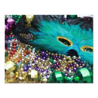 "Mardi Gras Beads & Green Feather Mask Invitations 4.25"" X 5.5"" Invitation Card"