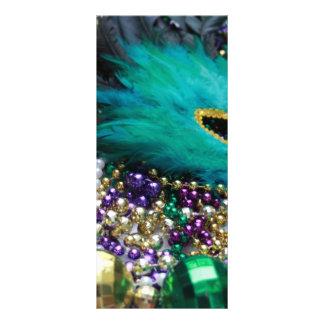 Mardi Gras Beads & Green Feather Mask Custom Rack Cards