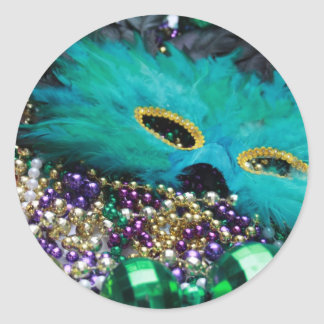 Mardi Gras Beads & Green Feather Mask Stickers
