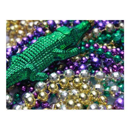 Mardi Gras Beads & Green Gator Postcard