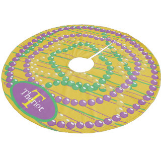 Mardi Gras Beads Monogram Fleece Tree Skirt