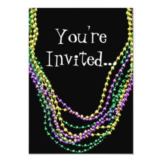 "Mardi Gras Beads Necklaces Invitation 5"" X 7"" Invitation Card"