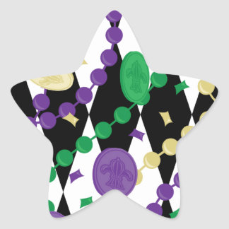 Mardi Gras Beads Star Sticker