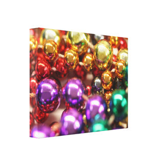 Mardi Gras Beads Wrapped Canvas