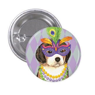 Mardi Gras Beagle 1 Inch Round Button