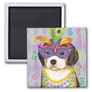 Mardi Gras Beagle 2 Inch Square Magnet